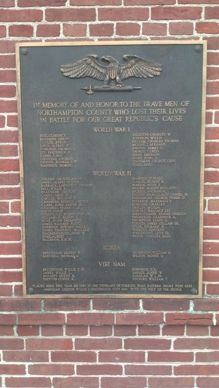 Northampton County Veteran's Memorial Marker image. Click for full size.
