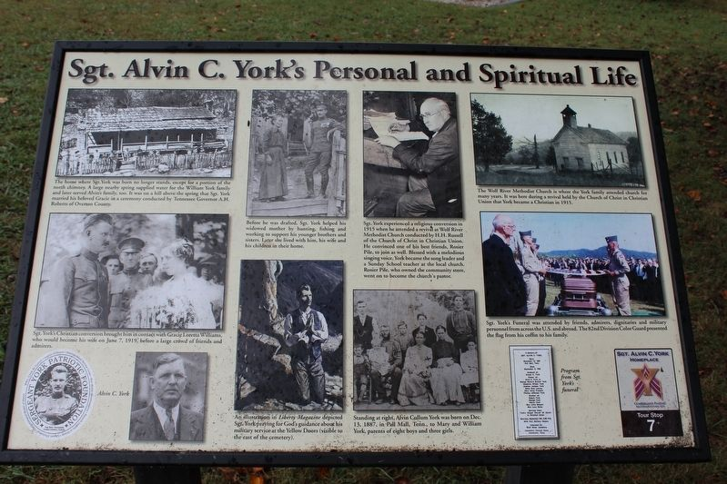 Sgt. Alvin C. York's Personal and Spiritual Life Marker image. Click for full size.