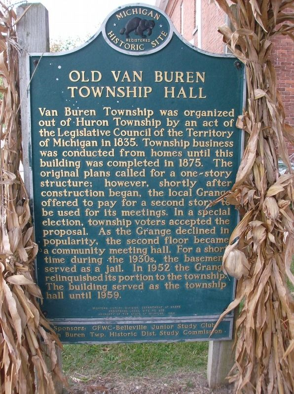 Old Van Buren Township Hall Marker image. Click for full size.
