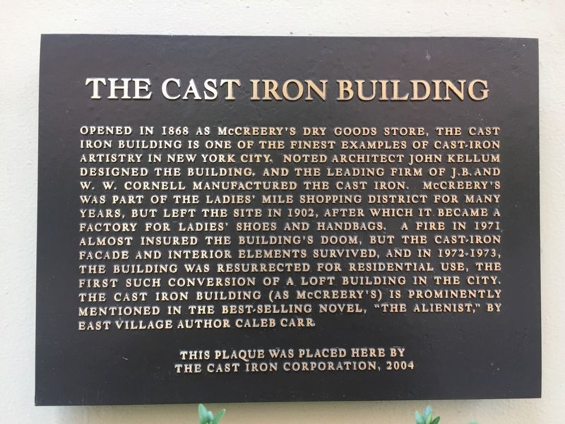 The Cast Iron Building Marker image. Click for full size.