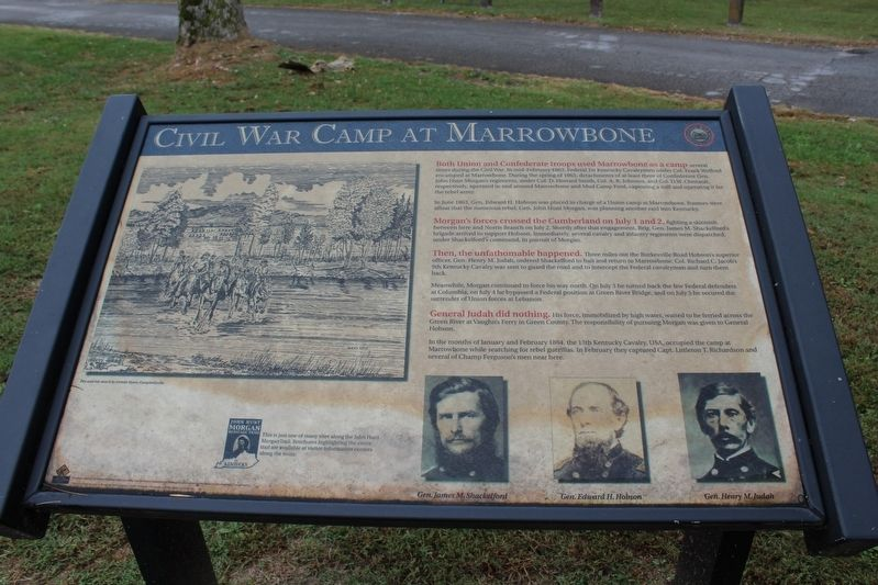 Civil War Camp at Marrowbone Marker image. Click for full size.