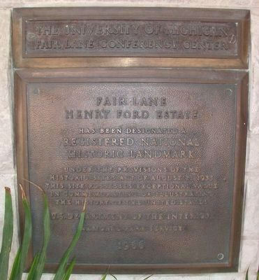 Fair Lane - National Historic Landmark Plaque image. Click for full size.