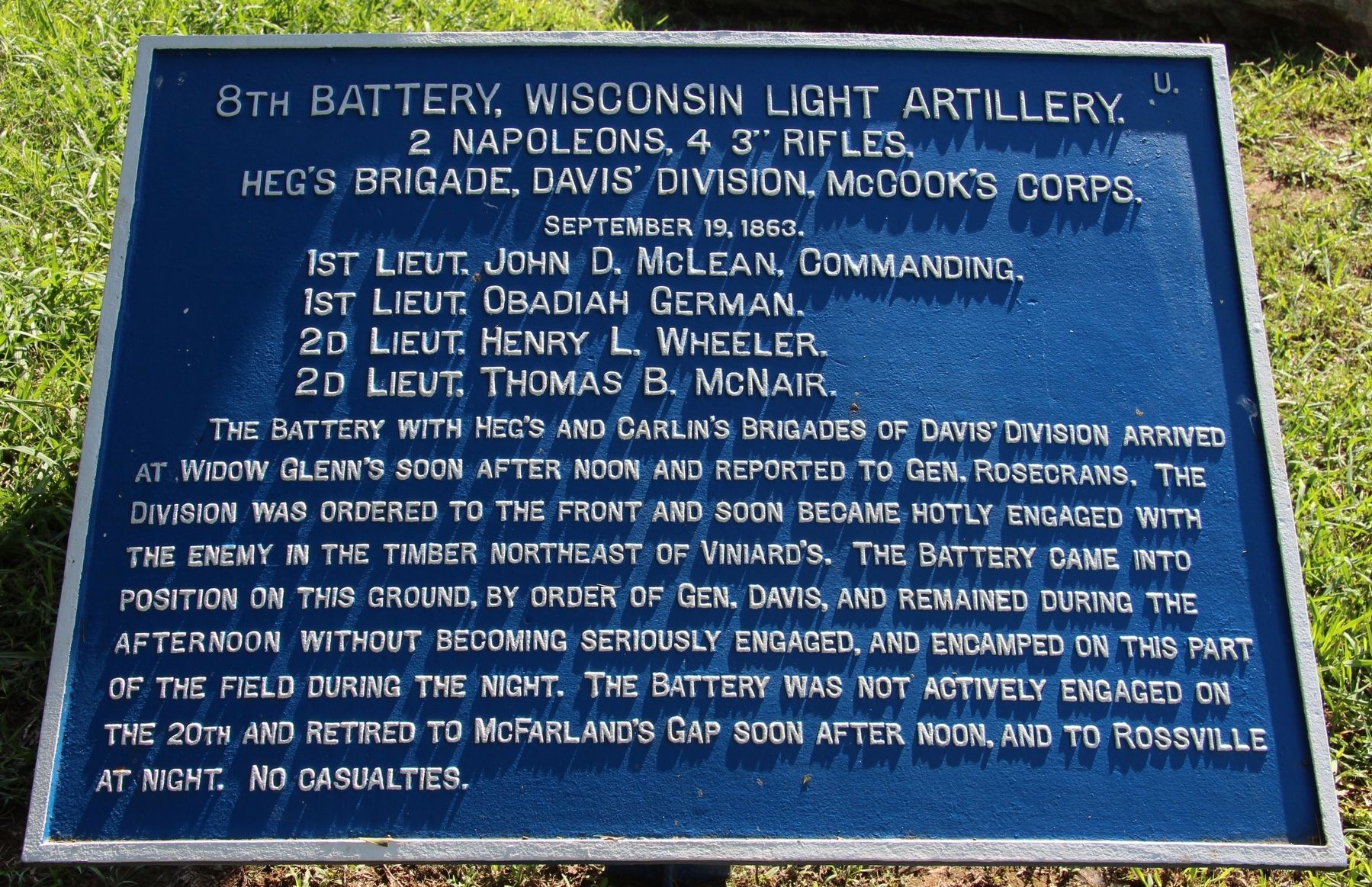 8th Wisconsin Battery Marker image. Click for full size.