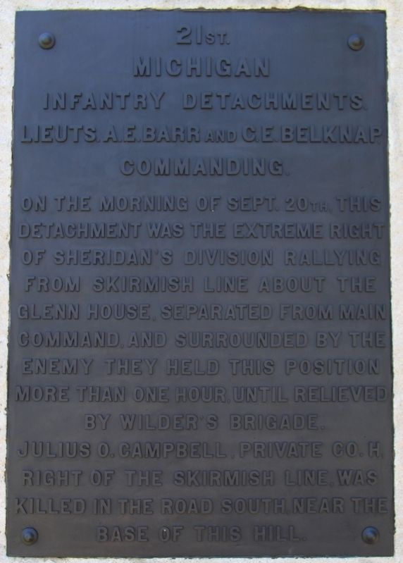 21st Michigan Infantry Detachments Marker image. Click for full size.
