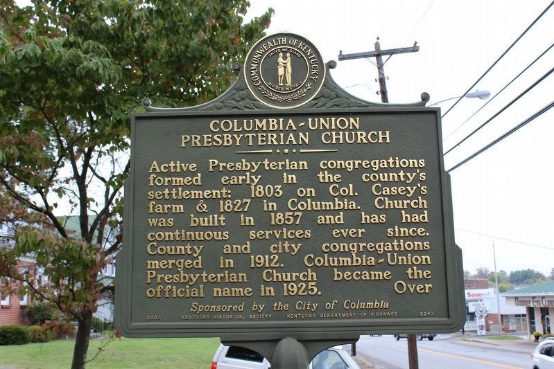 Columbia-Union Presyterian Church Marker (Side 1) image. Click for full size.