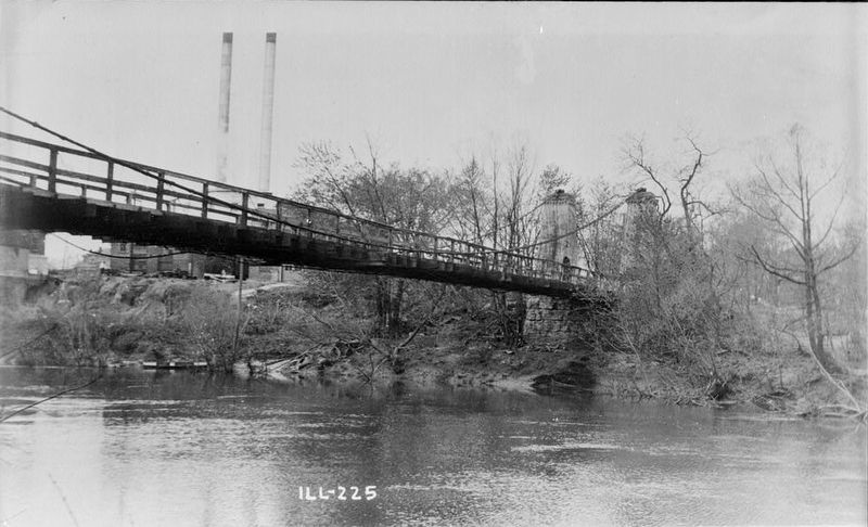 <i>VIEW FROM SOUTH-WEST - Suspension Bridge, Spanning Kaskaskia River, Carlyle, Clinton County </i> image. Click for full size.