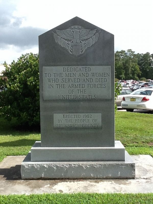 Brunswick County War Veterans Memorial Marker image. Click for full size.
