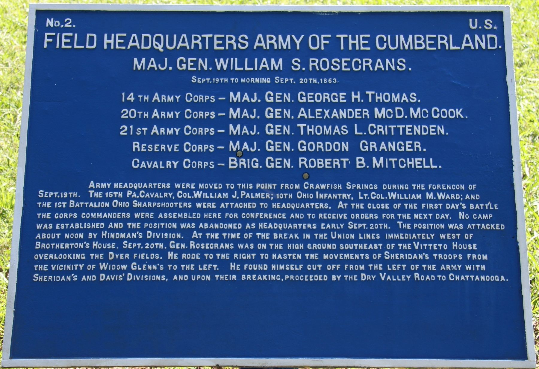 Field Headquarters Army of the Cumberland. Marker image. Click for full size.