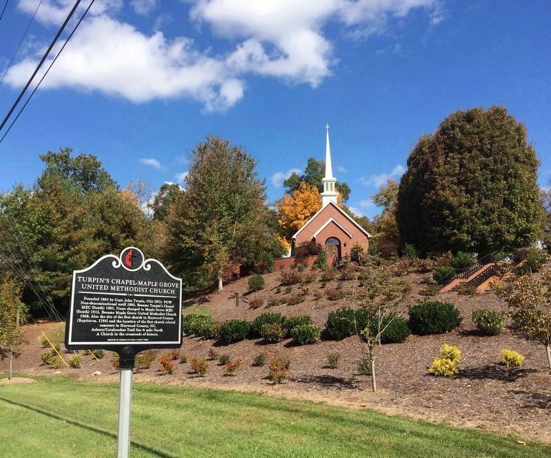Turpin's Chapel - Maple Grove United Methodist Church & replacement marker. image. Click for full size.