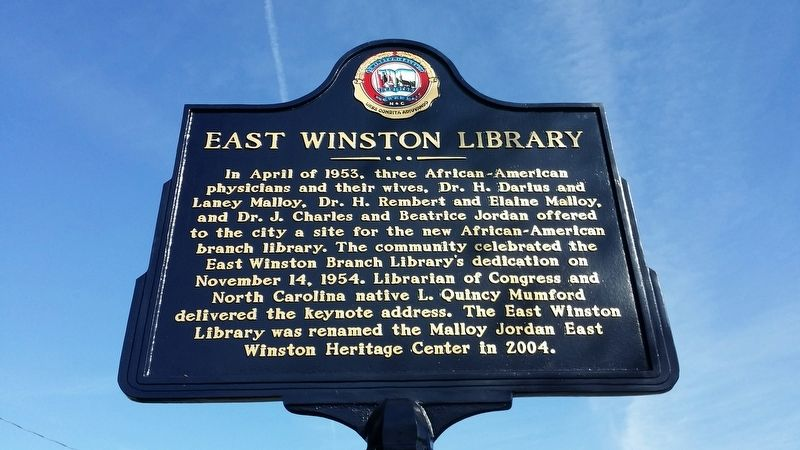 East Winston Library Marker image. Click for full size.
