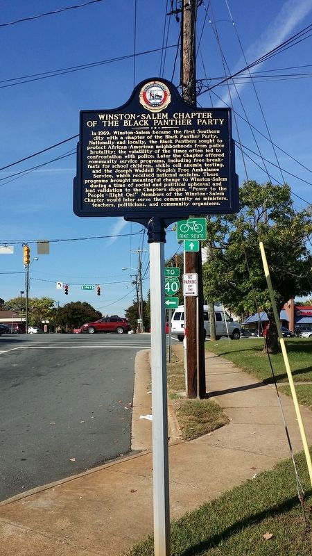 Winston-Salem Chapter Of The Black Panther Party Marker image. Click for full size.