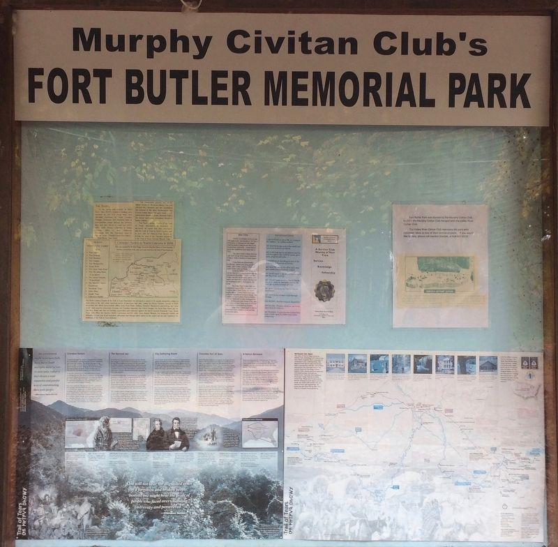 Billboard in park, near marker, with info on the Trail of Tears. image. Click for full size.