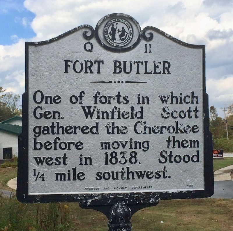 Another nearby Fort Butler Marker located on Hiwassee Street near firehouse. image. Click for full size.
