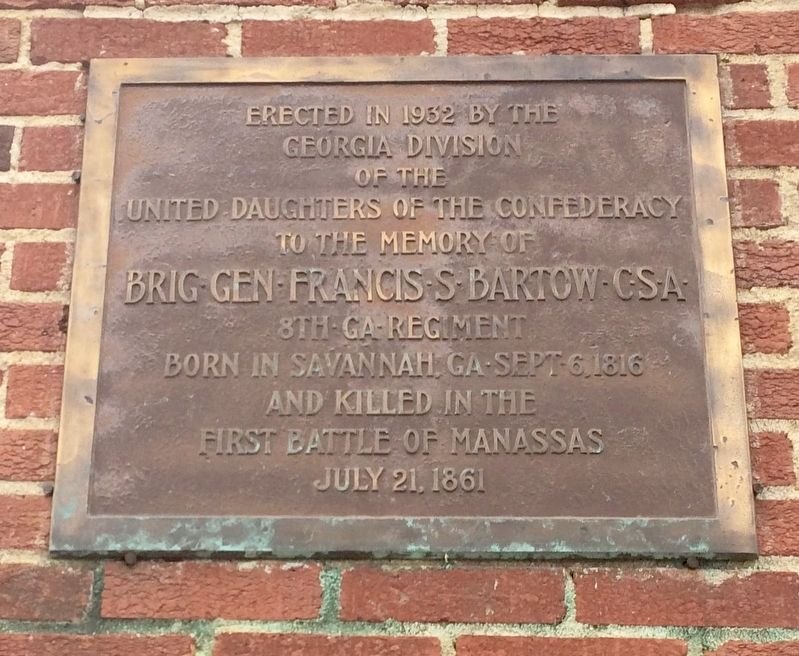 Plaque at old entrance about General Francis Bartow - named on the marker. image. Click for full size.