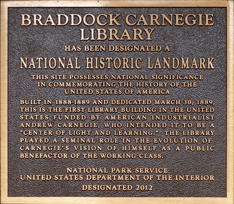 Braddock Carnegie Library Marker image. Click for full size.