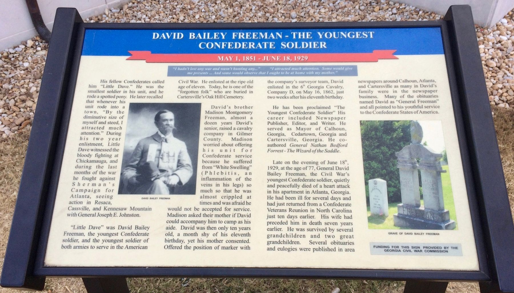 David Bailey Freeman - The Youngest Confederate Soldier Marker image. Click for full size.