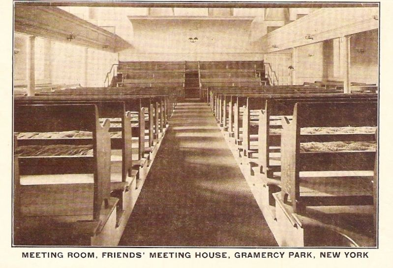 <i>Meeting Room, Friends' Meeting House, Gramercy Park, New York</i> - Postcard View image. Click for full size.
