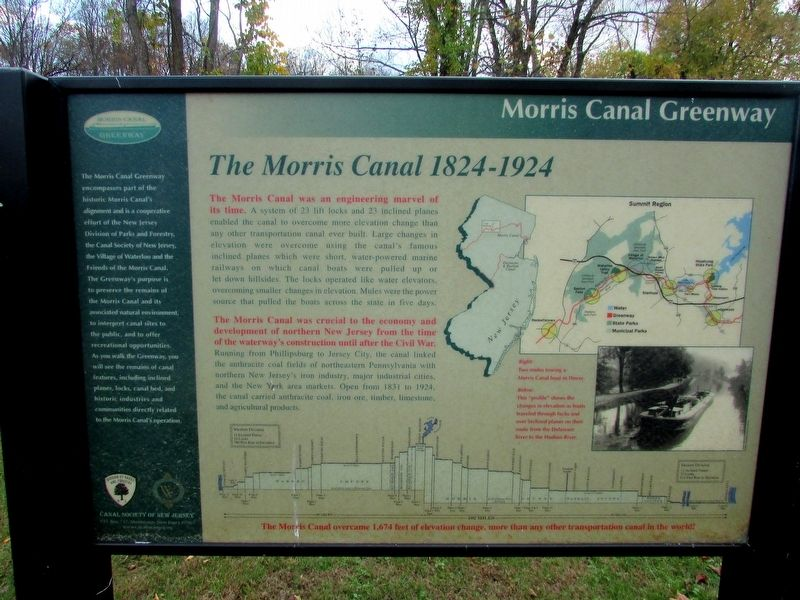 The Morris Canal 1824-1924 Marker image. Click for full size.