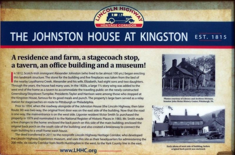 The Johnson House at Kingston Marker image. Click for full size.