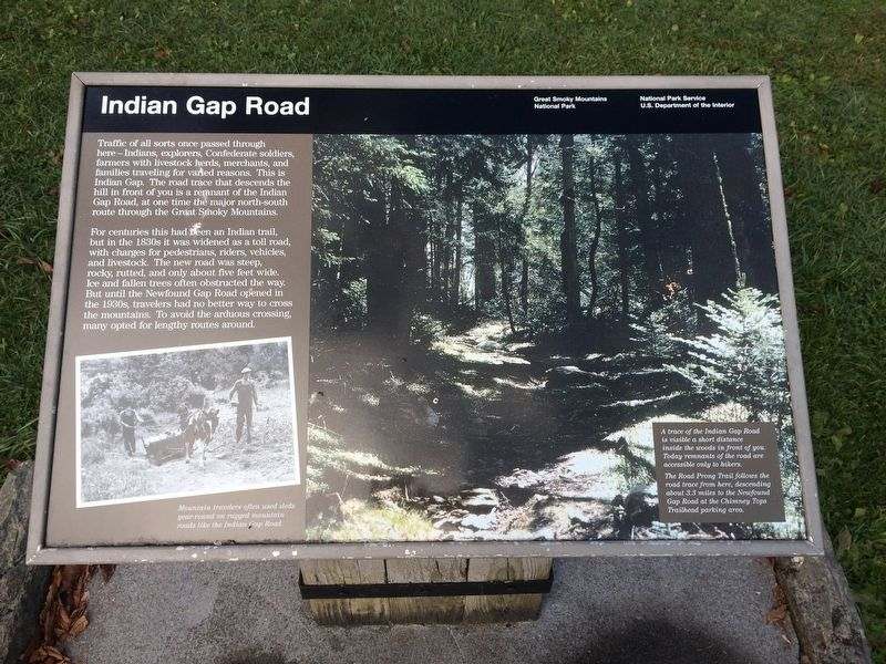 Indian Gap Road Marker image. Click for full size.
