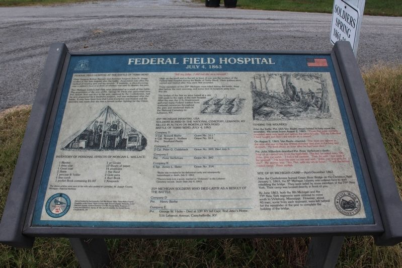 Federal Field Hospital Marker image. Click for full size.