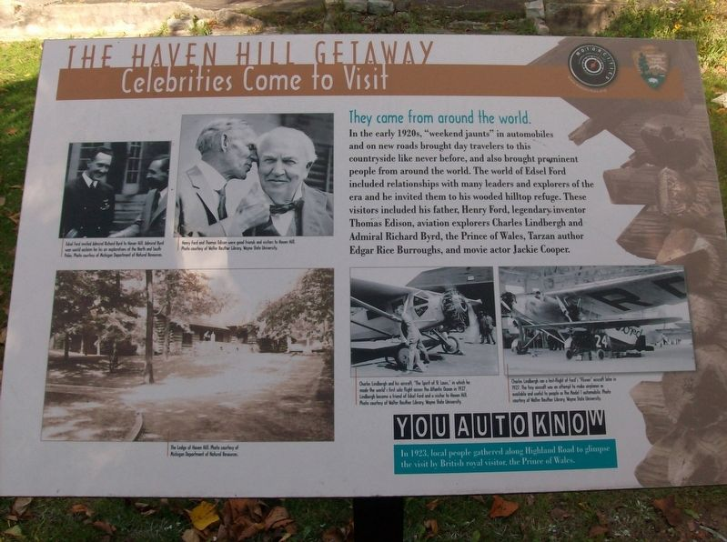 The Haven Hill Getaway: Celebrities Come to Visit Marker image. Click for full size.