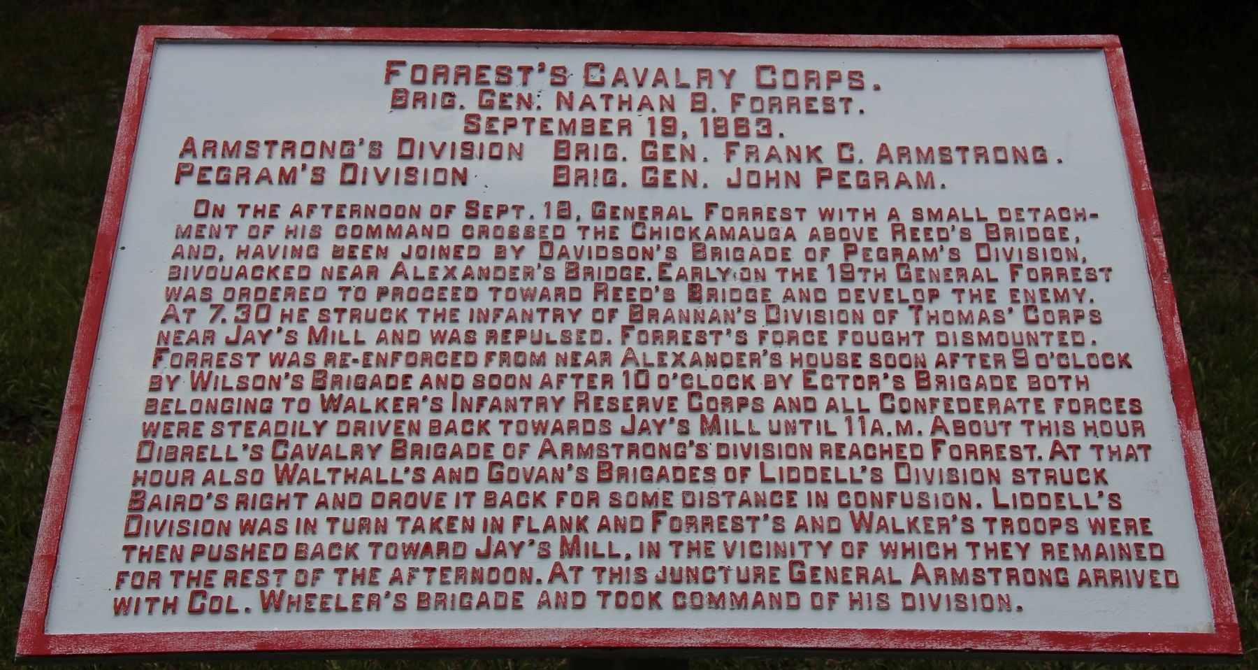 Forrest's Cavalry Corps Marker image. Click for full size.