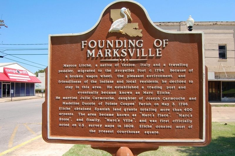 Founding Of Marksville Marker image. Click for full size.