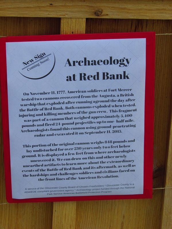 Archaeology at Red Bank Marker (ORIGINAL MARKER) image. Click for full size.