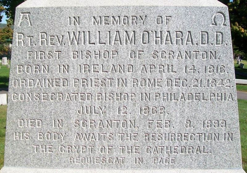 Right Reverend William O'Hara, D.D. Marker image. Click for full size.