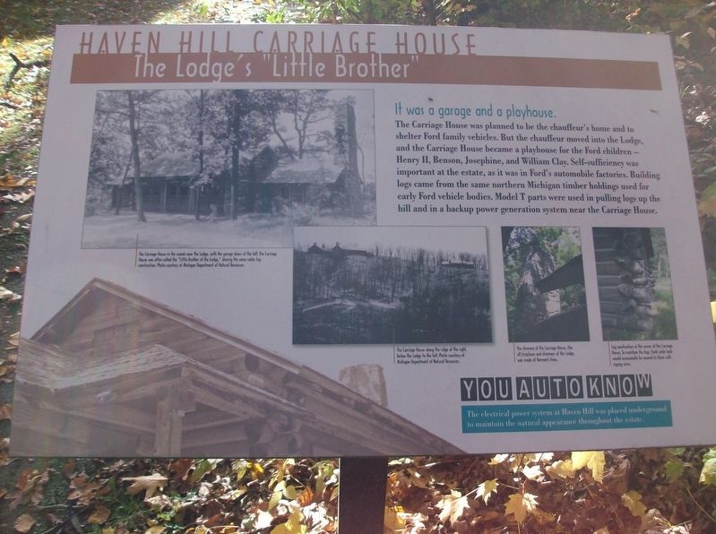 "Haven Hill Carriage House: The Lodge's ""Little Brother"" Marker image. Click for full size."