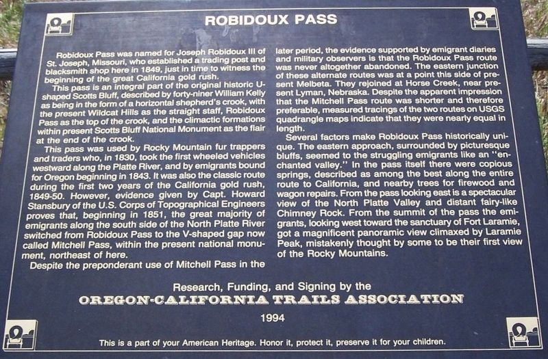 Robidoux Pass Marker image. Click for full size.