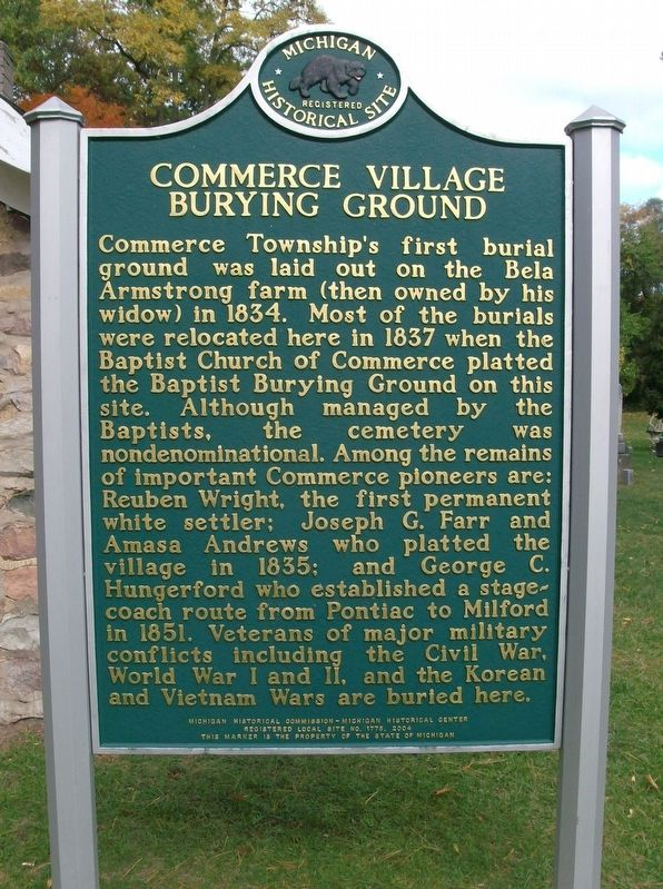 Commerce Village Burying Ground Marker - side 1 image. Click for full size.