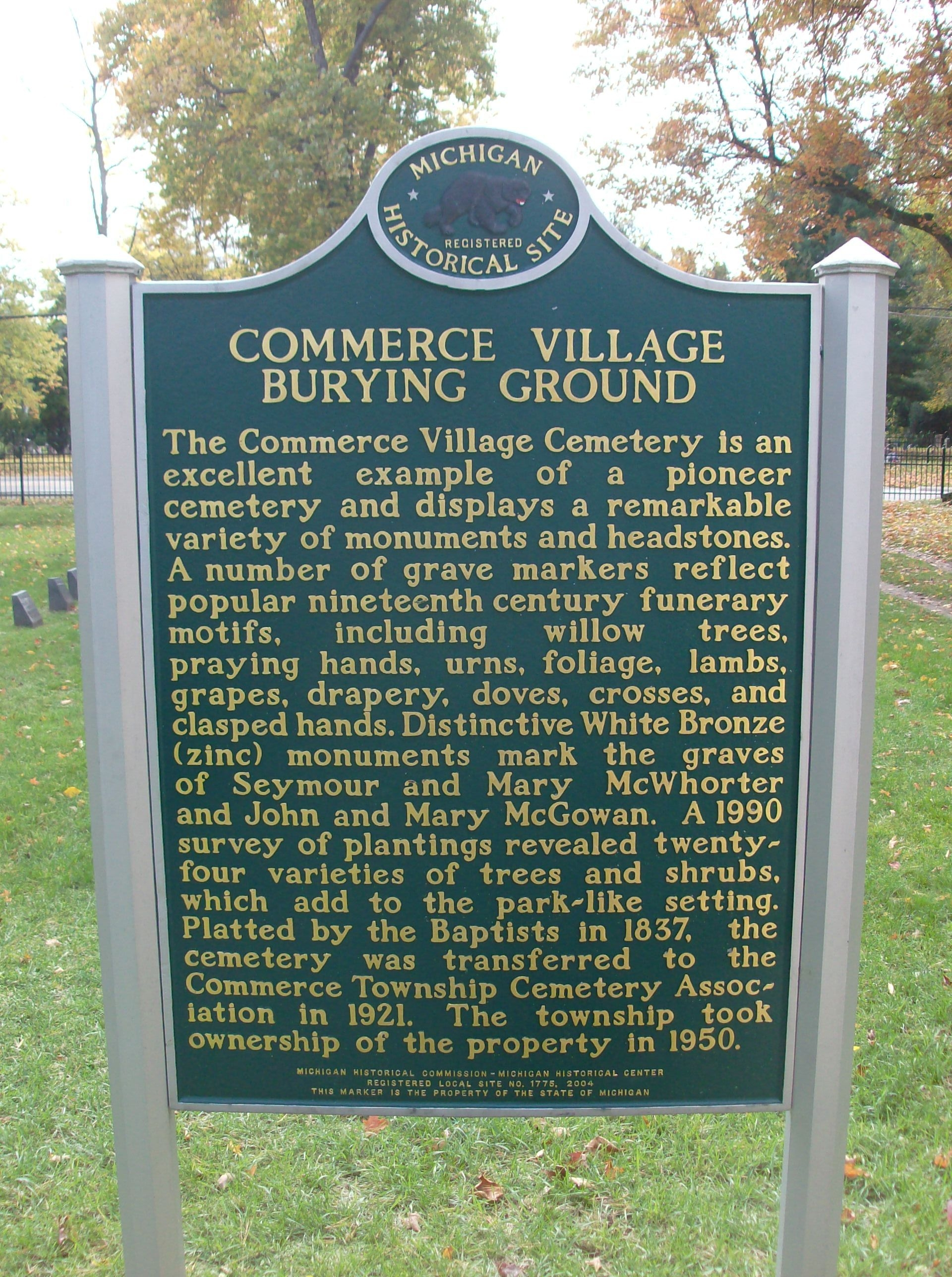 Commerce Village Burying Ground Marker