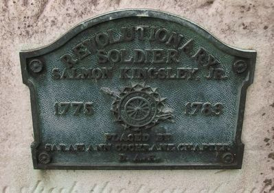 Salmon Kingsley Gravestone - closeup of plaque image. Click for full size.
