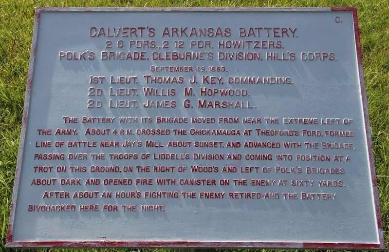 Calvert's Arkansas Battery Marker image. Click for full size.