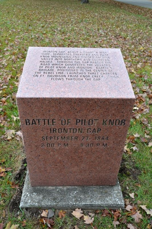 Battle of Pilot Knob — Ironton Gap Marker image. Click for full size.