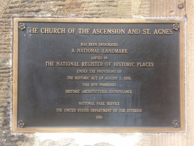 The Church of the Ascension and St. Agnes Marker image. Click for full size.