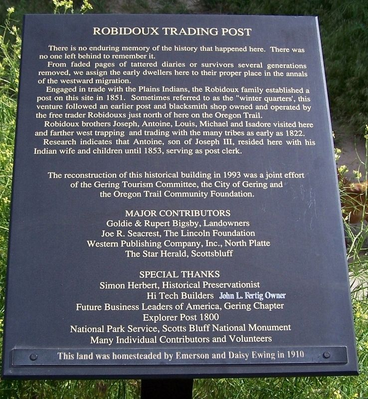 Robidoux Trading Post Marker image. Click for full size.