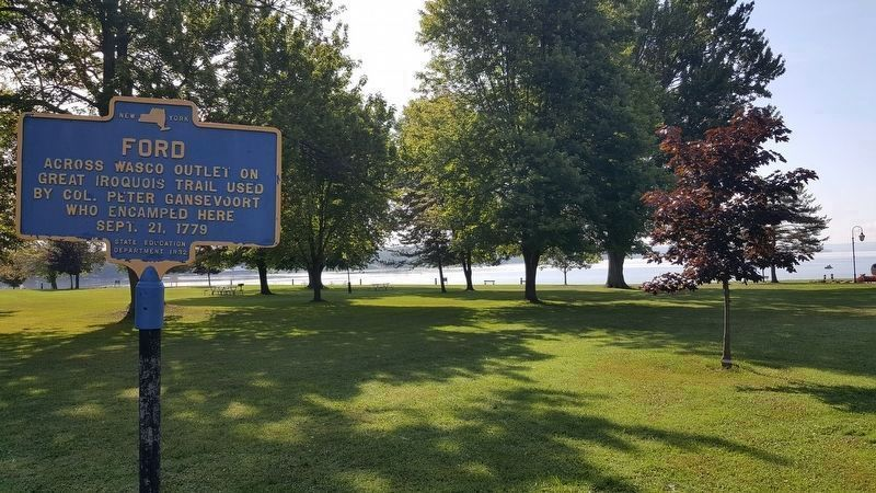 Ford Across Wasco Outlet marker within Emerson Park. Owasco Lake is in background. image. Click for full size.