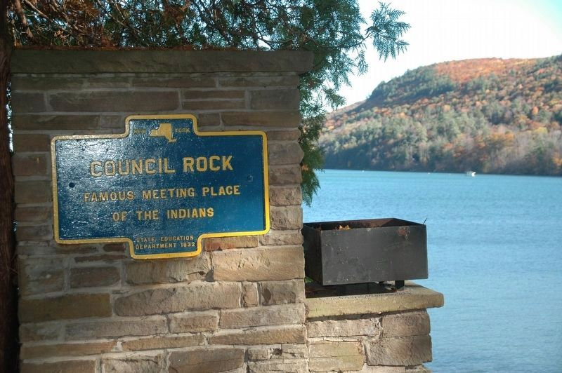 Council Rock Marker & Otsego Lake image. Click for full size.