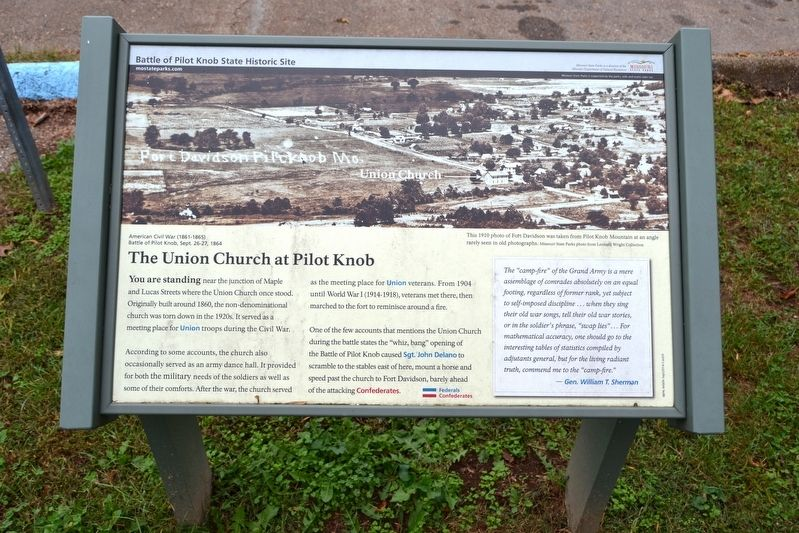 The Union Church at Pilot Knob Marker image. Click for full size.