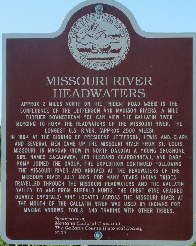 Missouri River Headwaters Marker image. Click for full size.