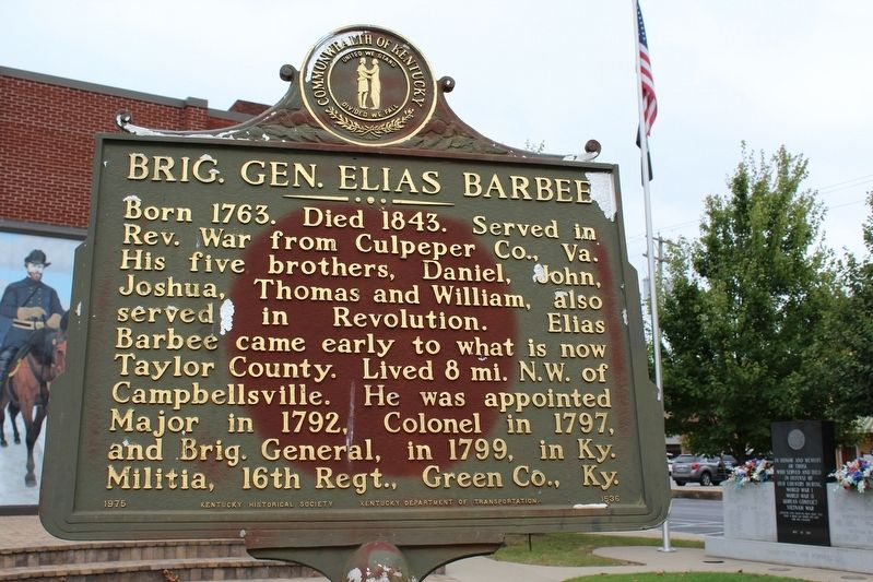 Brig. Gen. Elias Barbee Marker (Side 1) image. Click for full size.