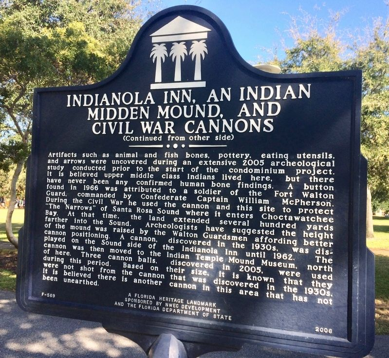 Indianola Inn, An Indian Midden Mound, and Civil War Cannons Marker (Side 2) image. Click for full size.