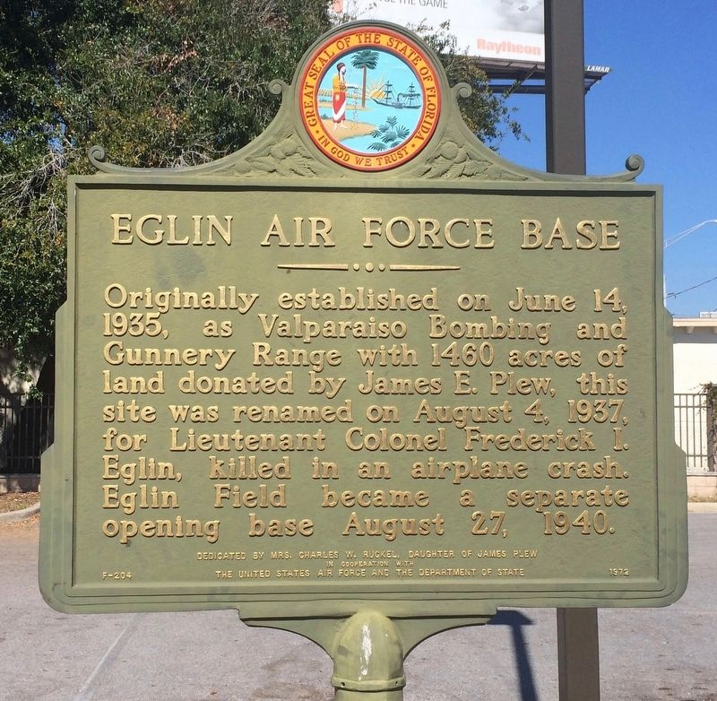 Eglin Air Force Base Marker image. Click for full size.