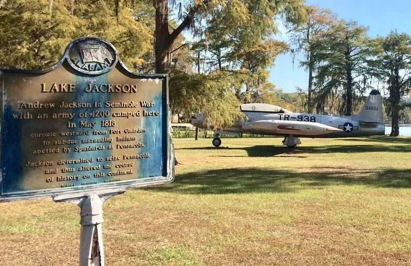 Lake Jackson Marker and static T-38 airplane nearby. image. Click for full size.