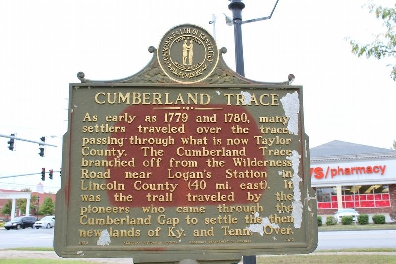 Cumberland Trace Marker (Side 1) image. Click for full size.