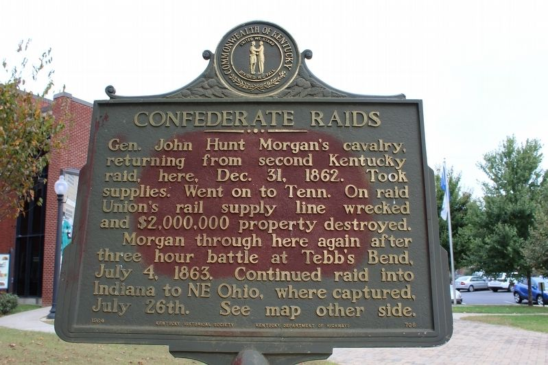 Confederate Raids Marker (Side 1) image. Click for full size.