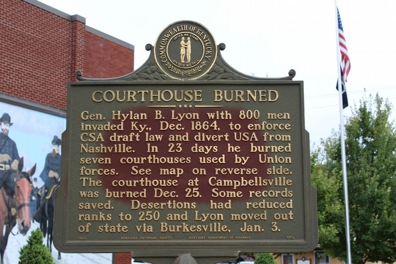 Courthouse Burned Marker (Side 1) image. Click for full size.